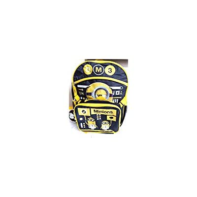 Universal Studios Minions Despicable Me Yellow & Black School Backpack + Attachable Lunch Bag