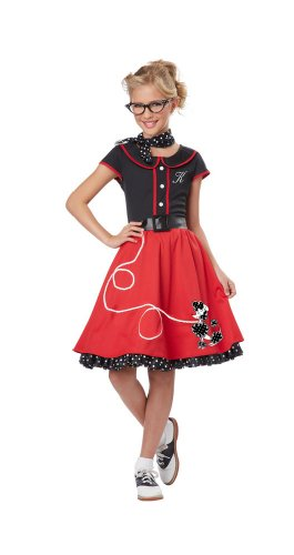 California Costumes Child's 50's Sweetheart Costume, Red/Black, Small -