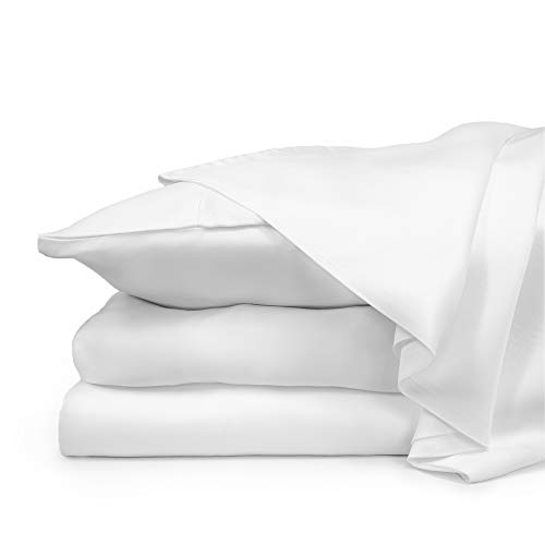 Bamboo White 100% - ZENLUSSO Bed Sheet Set Luxury 100% Bamboo Sheets - Hypoallergenic, Deep Pockets, Silky Soft (White, Queen)