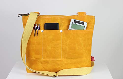 Yellow waxed tote bag cross hang strap pocket on front full lining waterproof simple tote bag carry all gift idea different color available
