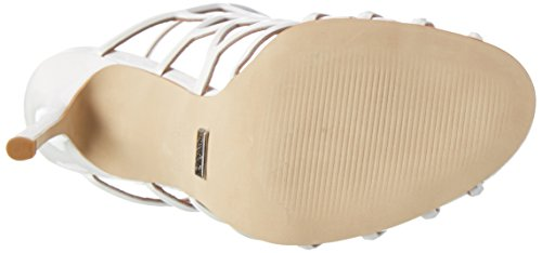 Buffalo London Damen Zs 5164-15 Patent Knöchelriemchen Sandalen Weiß (White)