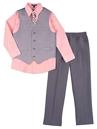 Amazon.com: Boys 4 Piece Suit Peach & Gray Dress Up Outfit