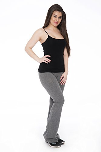 Unique Styles Fold-Over Waistband Stretchy Cotton Blend Yoga Pants (Small-2Pack Grey)