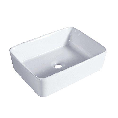 1life Bathroom Porcelain Ceramic Vessel Vanity Sink White Square Above Counter Art Basin Pop Up ()