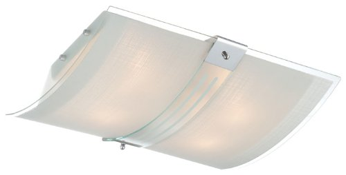 - Lite Source LS-5431 Flush Mount with Frosted Glass Shades, Chrome Finish