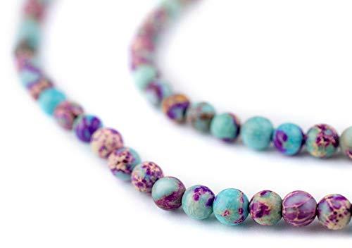 TheBeadChest Galaxy Sea Sediment Jasper Beads (4mm): Organic Gemstone Round Spherical Energy Stone Healing Power for Jewelry Bracelet Mala Necklace - Jasper Gemstone Beads Round 4mm