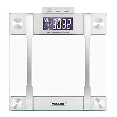 VonHaus Body Fat Scales 400lb Weight Capacity, Hydration Monitor, Composition Analyser, Bathroom Scales, Silver