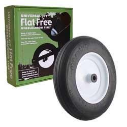 Universal Fit, Flat Free Wheelbarrow Tire and Wheel Assembly with Adapter -