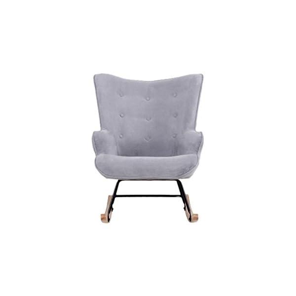 Zons Fauteuil à Bascule Rocking Chair H92X100X68CM suédine Gris