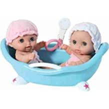 """Lil' Cutesies Twins with Bathtub - Toys & Games - Dolls & Dollhouses - Baby Doll Playsets - Set includes two 8.5"""" tall vinyl dolls with movable arms and legs - Bathtub really works"""