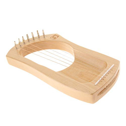 Flameer Wooden 7 Strings Mahogany Mini Harp Lyre, with Tuner&Case for Music Playing,Practicing