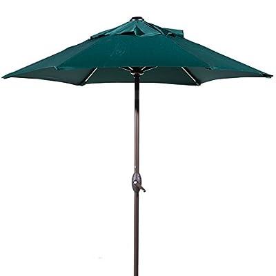 Abba Patio 7-1/2 ft. Round Outdoor Market Patio Umbrella with Push Button Tilt and Crank Lift