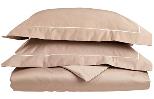 Superior 800 Thread Count, 100% Egyptian Cotton Single Ply Duvet Cover Set King/California King Taupe/Ivory (Renewed) ()