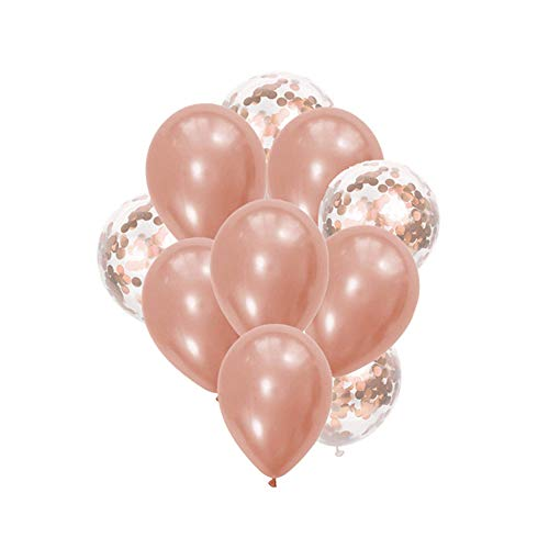 JoyLithe Rose Gold Balloons & Rose Gold Confetti Balloons Pack of 10-12 Inch Premium Latex Balloons Perfect for Rose Gold Party Decorations, Birthday Party, Bridal Shower, BabyShower, Wedding Supply -