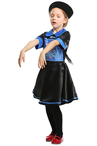 Kids Child Chinese Qing Dynasty Zombie Jiangshi Costume Halloween Cosplay Outfit for 3-9 -