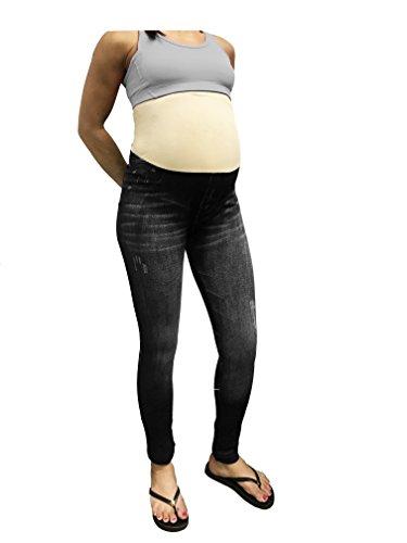 CLOYA Maternity Denim Print Fake Jeans, Seamless Full Length Leggings