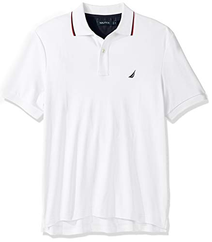 Nautica Men's Classic Fit Short Sleeve Dual Tipped Collar Polo Shirt, Bright White, Large