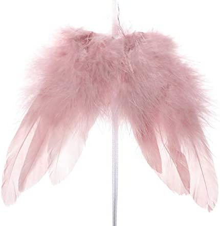 Shruti Fluffy Pink Feather Angel Wings Hanging Garland Christmas Tree Decoration