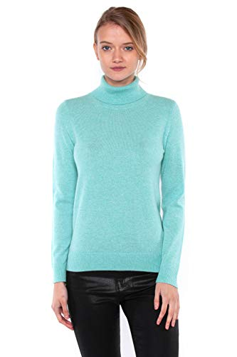 JENNIE LIU Women's 100% Pure Cashmere Long Sleeve Pullover Turtleneck Sweater (Medium, -