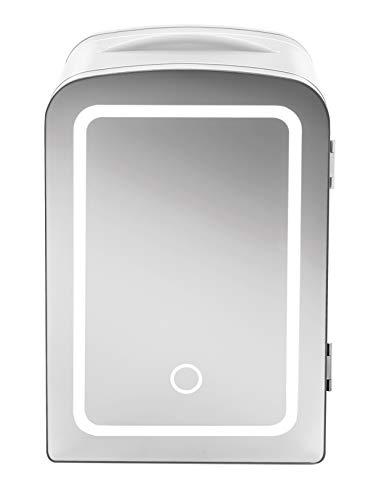 Chefman Portable Mirrored Beauty Fridge With LED Lighting 4 Liter Mini Refrigerator, Skin Care, Makeup Storage, w/Mirror…