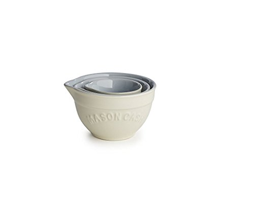Mason Cash Bakewell Stoneware Measuring Cups, Set of 3, Cream