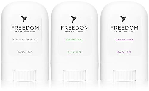 Freedom Natural Aluminum-Free, Non-Toxic Deodorant Travel Size (3 Pack) (Lavender, Mint, Unscented)