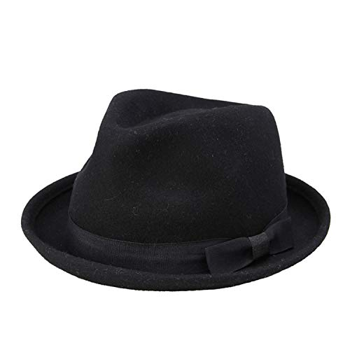 Winter Autumn Women Wool Black Fedora hat for Laday Felt Trilby Hat Gangster Panama Sun Hat,Black -