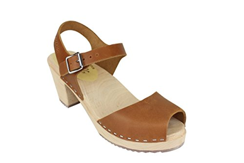 Lotta From Stockholm Open Highwood Clogs in Brown Oiled Nubuck