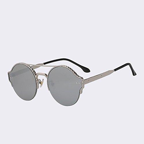 lens moda nuevo hombres Silver de de plata Marca remache en mujer de de lentes doble gafas sol gafas mirror espejo TIANLIANG04 diseño UV400 alta Vigas de metal calidad vintage de qCwEE78