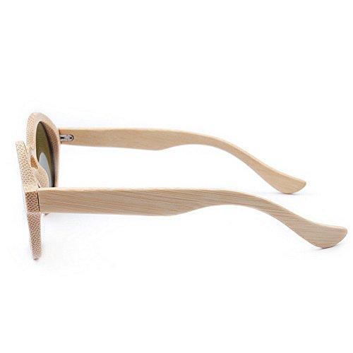 alta retro bambú calidad a Ultra polarizadas de lente mano sol de hecho color gafas azul redondas sol de mujeres de de de la ligero Gafas mujeres conduce que Protección ULTRAVIOLETA de las de las TAC 81q8RwO