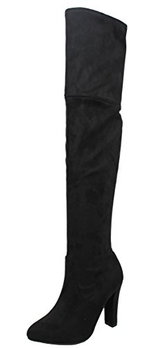 Delicious Women's Back Lace Tie Over The Knee High Heel Dress Boot (Black, 7.5 B(M) US)