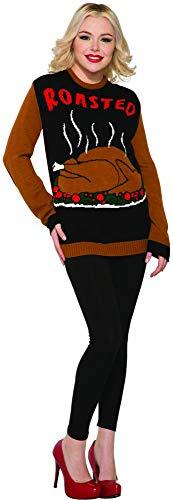 Forum Novelties 79688 Men's Petite Plus Thanksgiving Sweater Roasted Turkey Party Supplies, Medium, Tan/Black