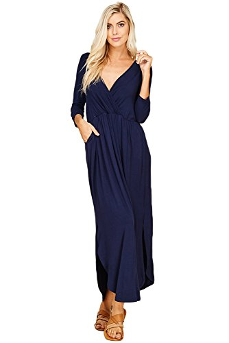 Annabelle Women's V-Neck 3/4 Sleeve Solid Round Hem Maxi Plus Size Dress Empire Pleated with Slit and Pockets Navy XXX-Large - Plus Sleeve Size Dress 3 Wrap 4