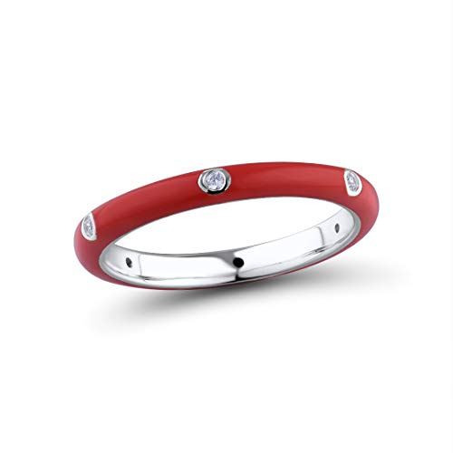 (Santuzza 925 Sterling Silver Ring Handmade Enamel Colorful Stackable Rings White Cubic Zirconia Eternity Rings (Red, 8))