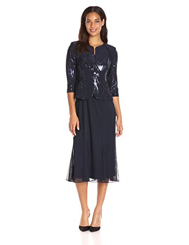 Alex Evenings Women's Tea Length Mock Dress with Sequin Jacket (Petite and Regular Sizes), Navy, 10