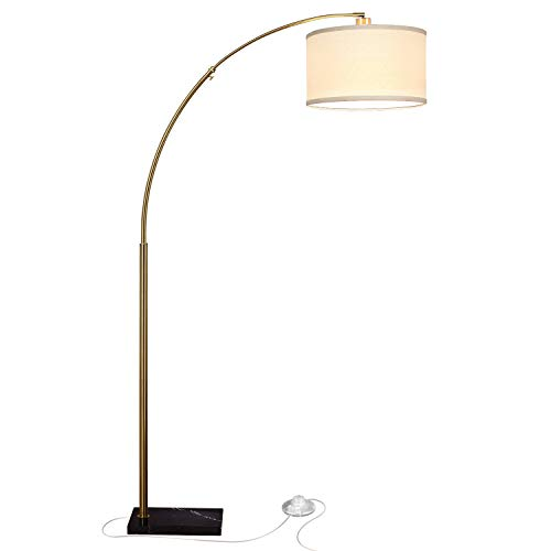 Arm Halogen Antique Swing Brass (Brightech Logan LED Arc Floor Lamp with Marble Base - Living Room Lighting for Behind The Couch - Modern, Tall Standing Hanging Light - Brass/Gold)