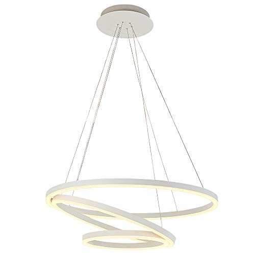 ROYAL PEARL Modern Circular Acrylic Chandelier Lighting Three Ring Contemporary Ceiling Pendant ()