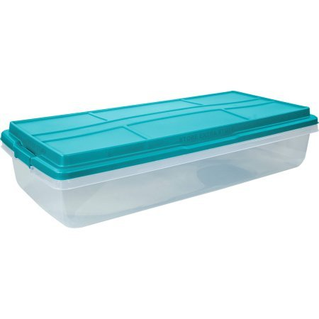63-Quart Clear Latch Box, Teal Sachet Lid and Handles