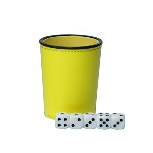(Leather Dice Cup Set Felt Lining Mini Shaker Cup with 5 Dice for Yahtzee Game-Yellow)