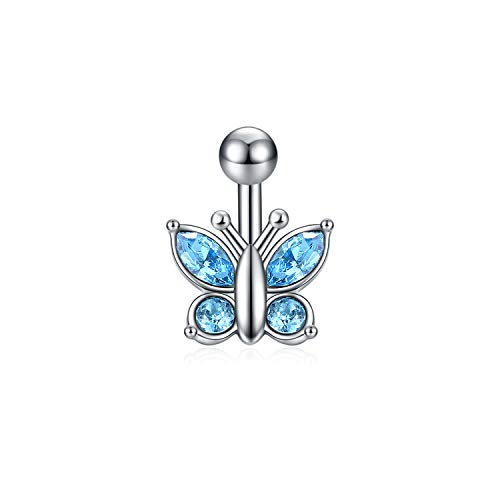 AOBOCO Sterling Silver Butterfly Belly Ring Barbell Belly Button Ring with Aquamarine Swarovski Crystal,Body Piercing Jewelry for Women Girls