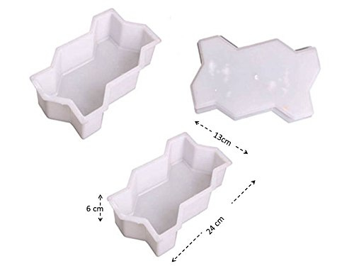Starworld - 2Pcs Wave Shape Easy & Smooth Home Garden DIY Walking Path Maker Cement Brick Mold or Pavement Driveway Stone Mold Concrete Mold Stepping Plastic (24x13x6 cm) White Color (Plastic Abs Mold Stone Stepping)