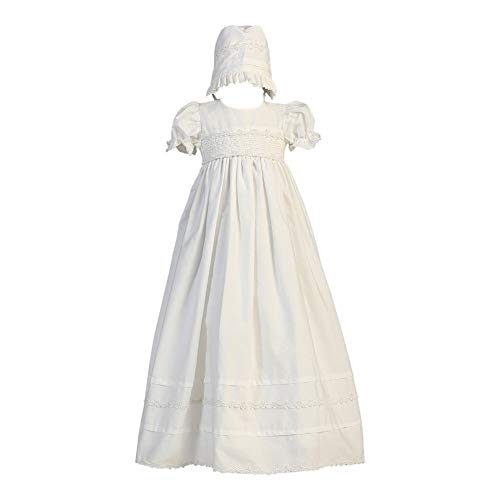 Girls Cotton Christening Gown Dresses with Bonnet Set - Baby or Infant Girl's Christening Dress, White, 12-18 Months]()