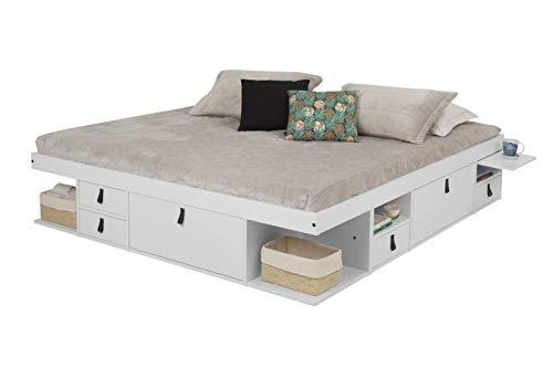 Memomad Bali Storage Platform Bed with Drawers (King Size, Off White)