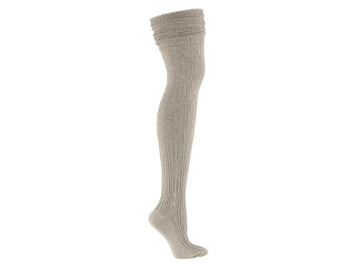 b00c62b41b7 Image Unavailable. Image not available for. Colour  Sock It To Me OTK BEIGE CABLE  KNIT Womens Thigh High Socks