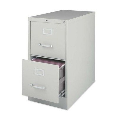 Lorell 2-Drawer Vertical File with Lock, 15 by 25 by 28-3/8-Inch, Light Gray