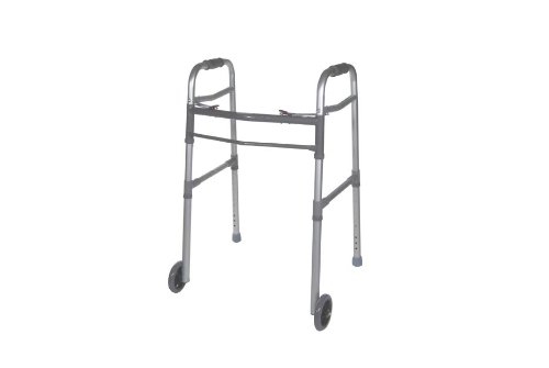 Drive Medical Two Button Folding Universal Walker with 5'' Wheels by Drive Medical