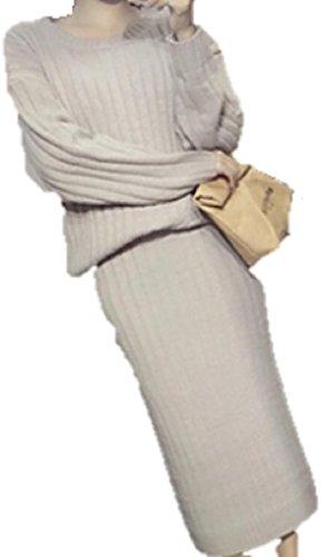 (トリニウサ)TORINIUSA2ピースリブ丸首長袖ロングスカートニットセットアップかわいい上品レディースガールズ全3色グレーパープルネイビーピンクフリーサイズ(グレー)