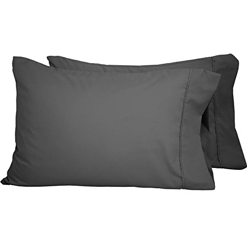 Dark Grey Solid Soft and Cozy Set of 2 Pillow Cases -400 Thread Count Standard Size Rajlinen Egyptian Cotton