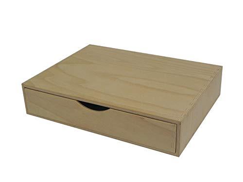 Cajon de madera individual – Almacenamiento de escritorio A4 para manualidades, sin pintar, ancho