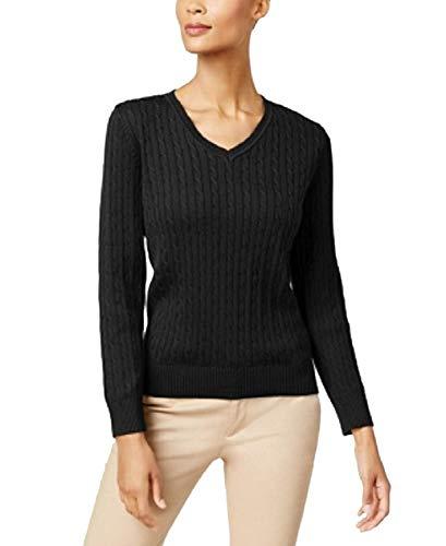 Karen Scott Women's V Neck Cable Knit Cotton Sweater Pullover (Deep Black, Medium) -